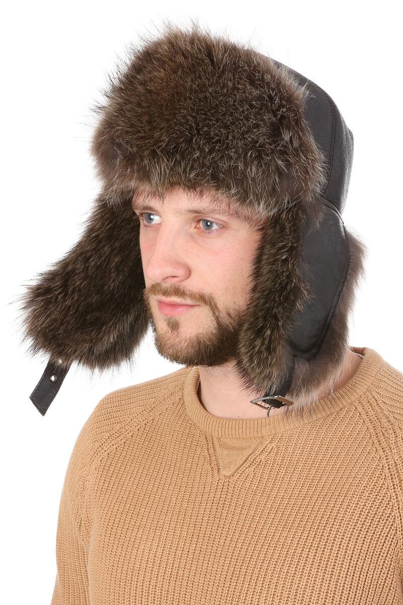 Мужская шапка-ушанка из меха енота черная