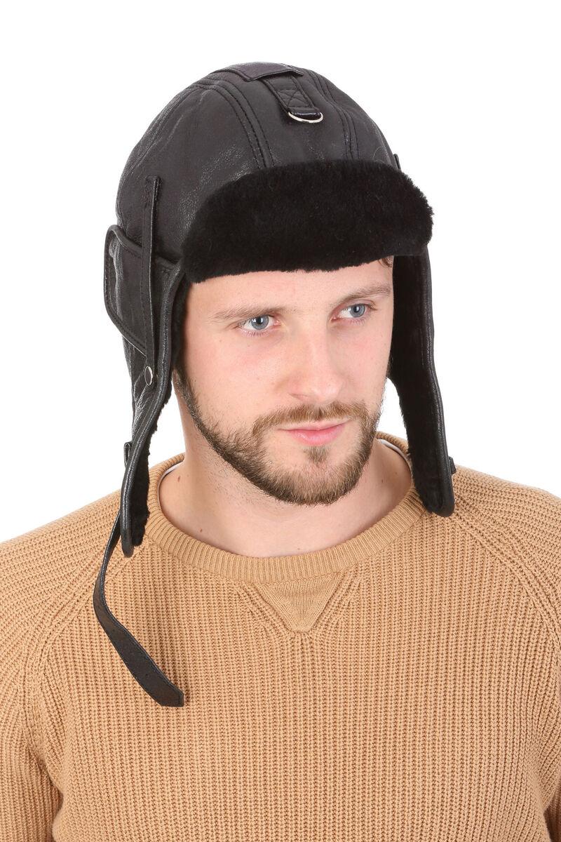 Зимняя шапка-шлем из натуральной овчины