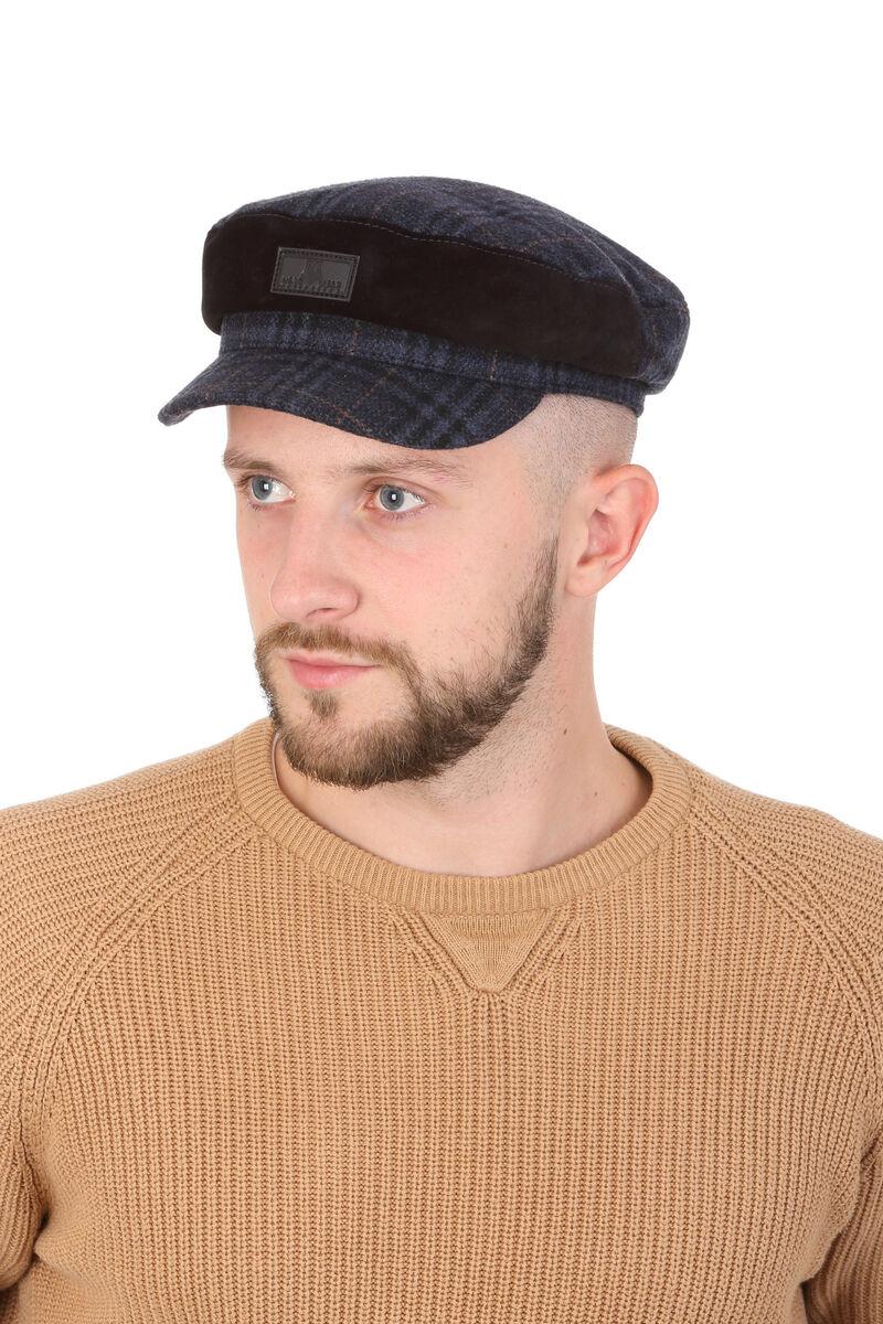 Капитанка синяя мужская из драпа с замшевой вставкой