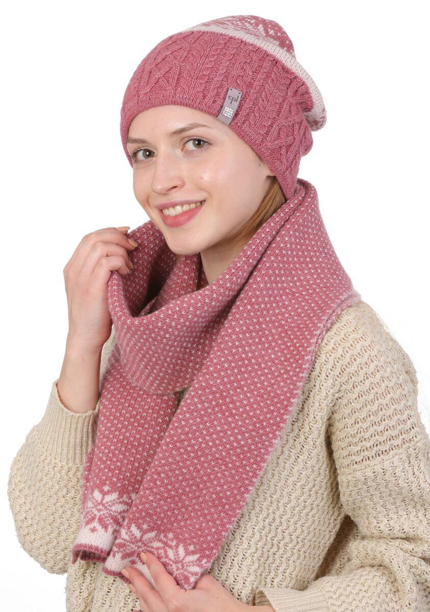 Комплект вязаный шапка и шарф розовый