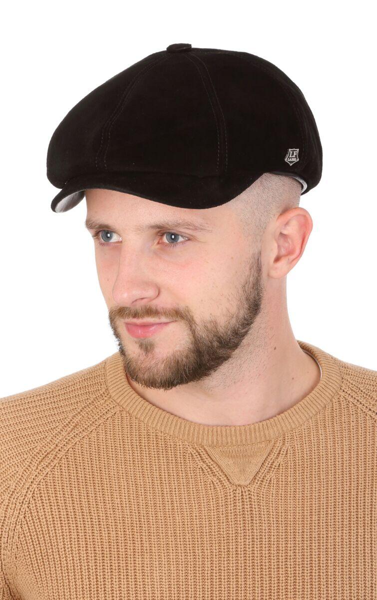 Кепка мужская замшевая восьмиклинка черная