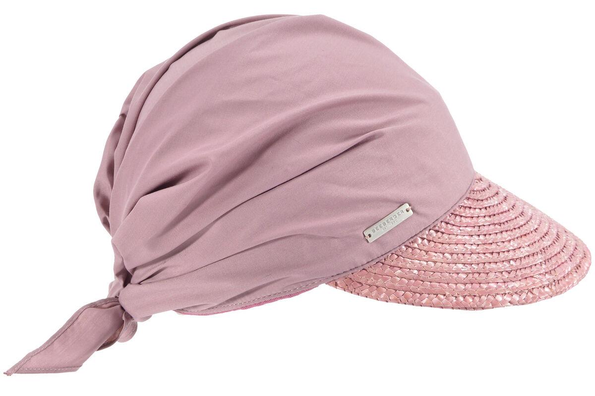 Соломенный козырек розовый с косынкой