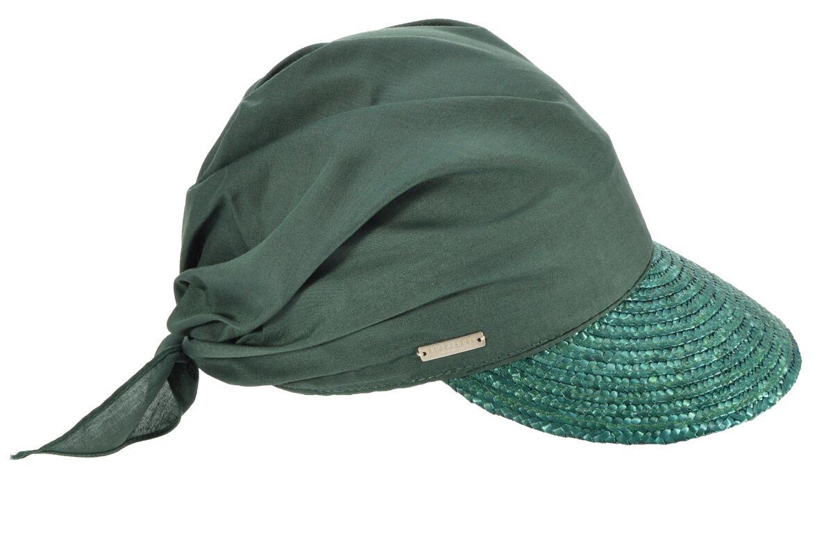Козырек соломенный зеленый с косынкой