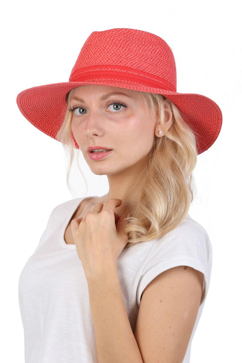 Шляпа федора женская красная