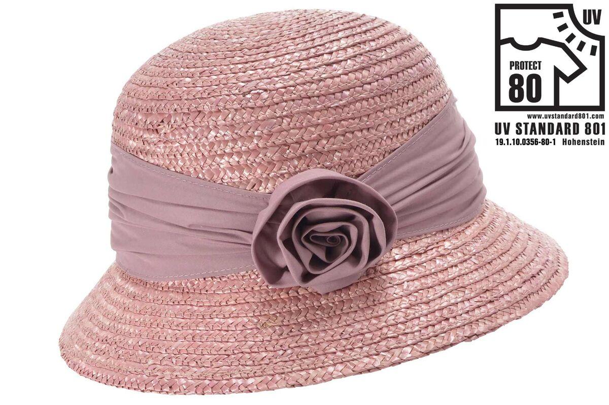 Шляпка соломенная с маленькими полями розовая