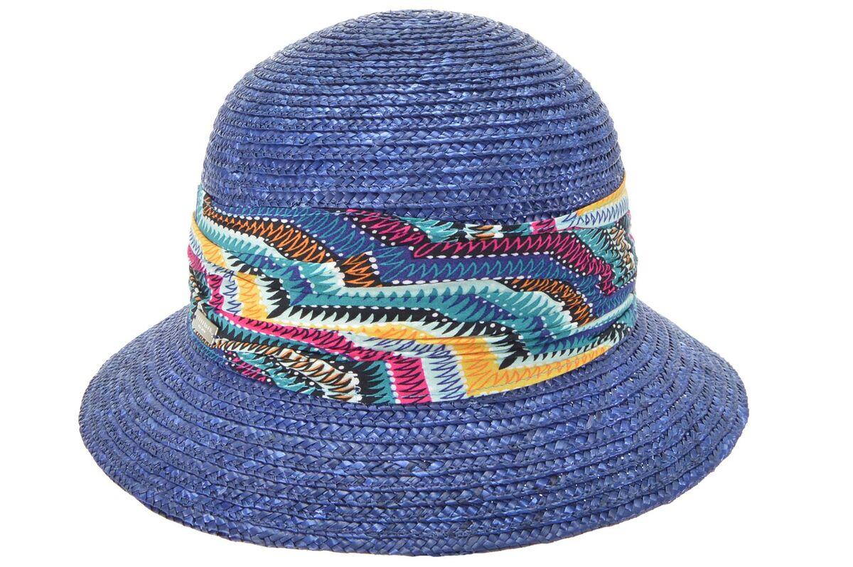 Шляпа соломенная синяя с яркой лентой