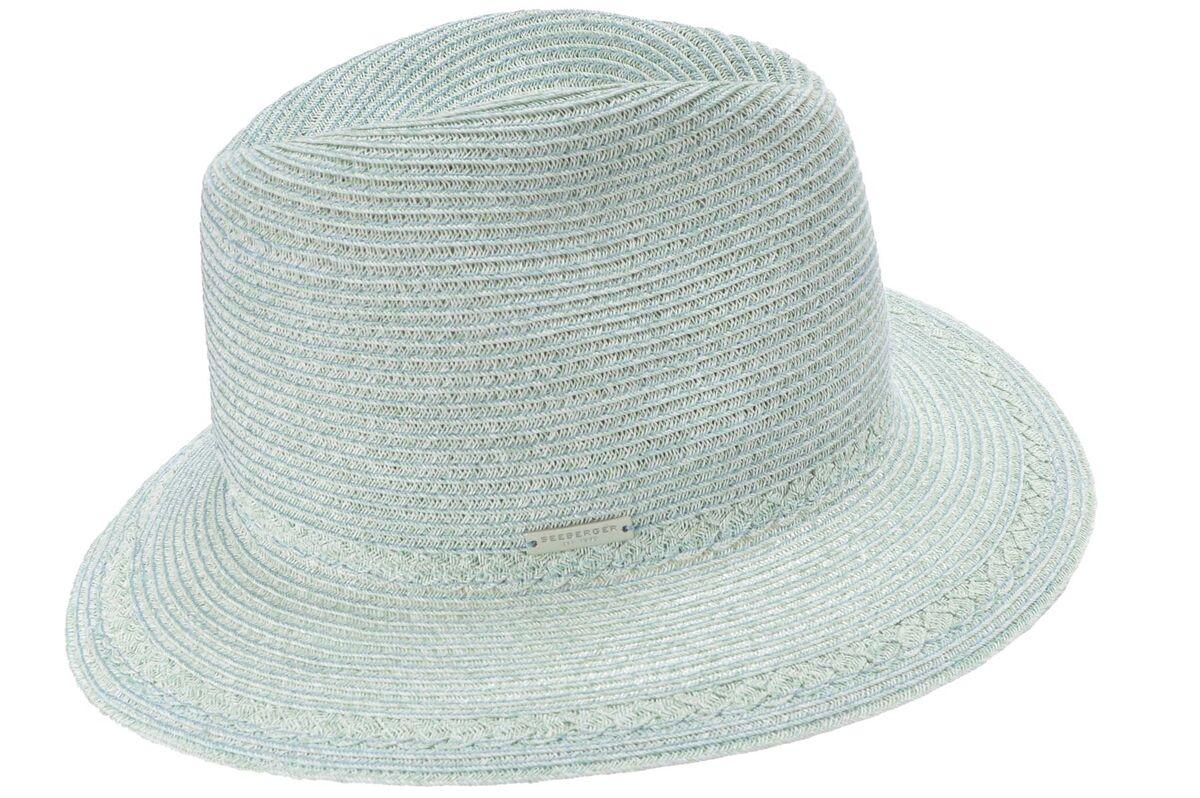 Шляпа мягкая федора голубая
