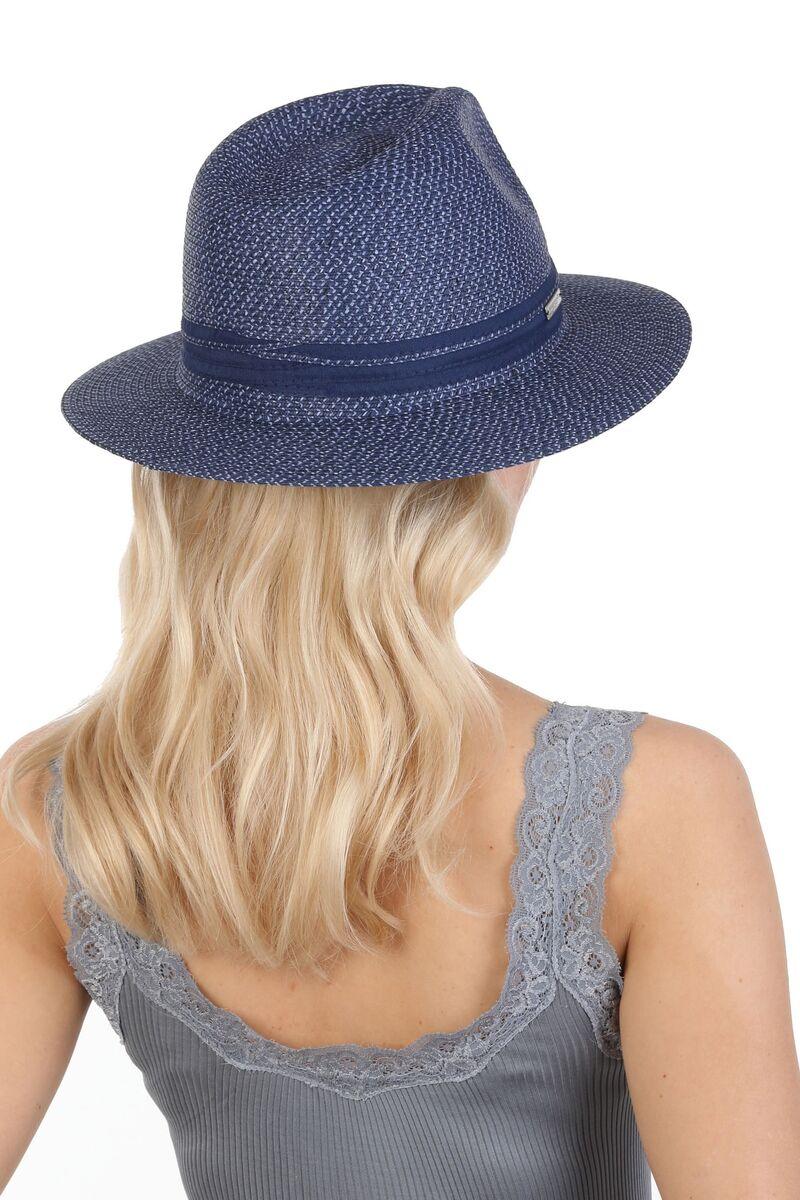 Шляпа федора синяя женская