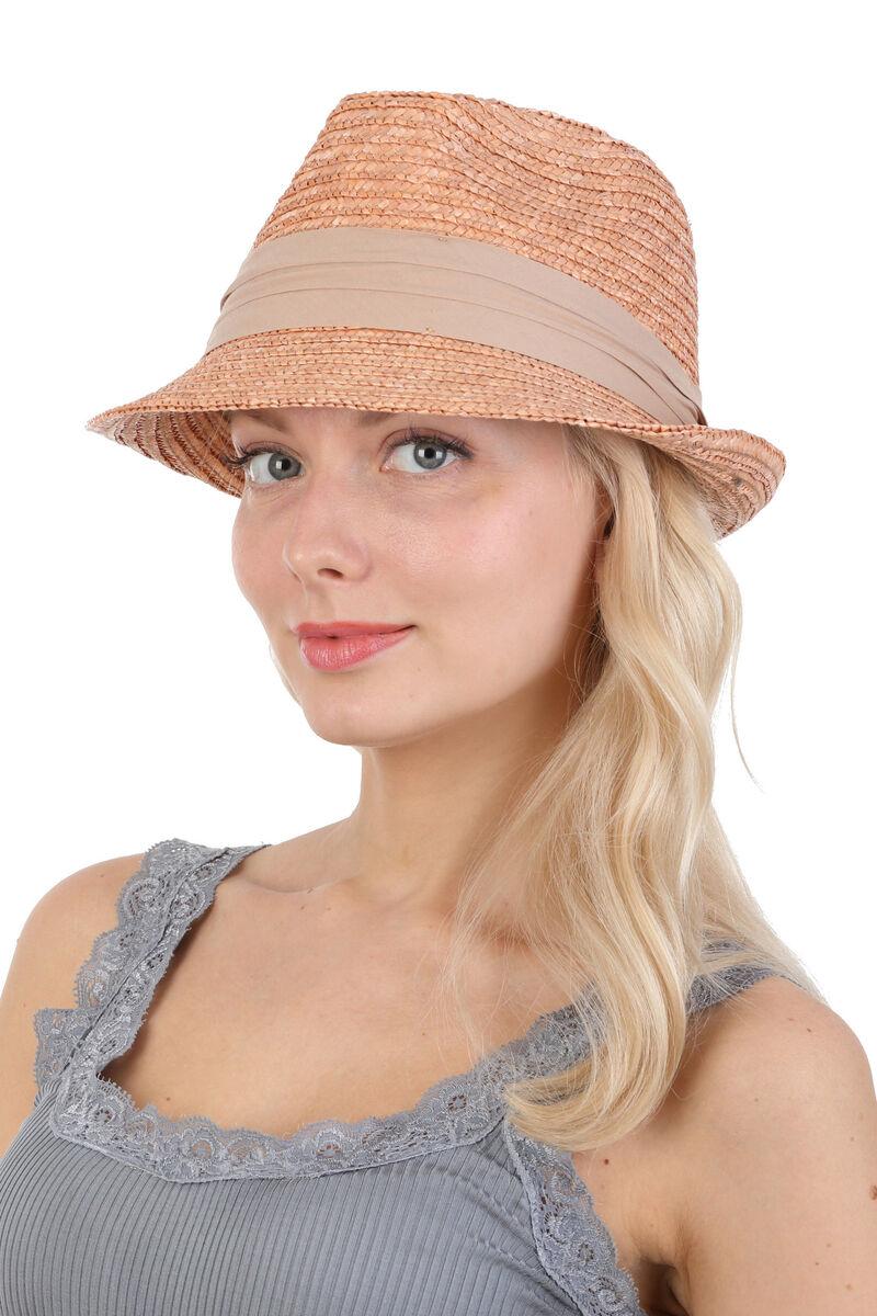 Шляпа трилби из соломы бежевая