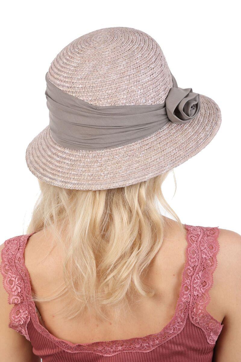 Шляпка из натуральной соломы серая с розочкой