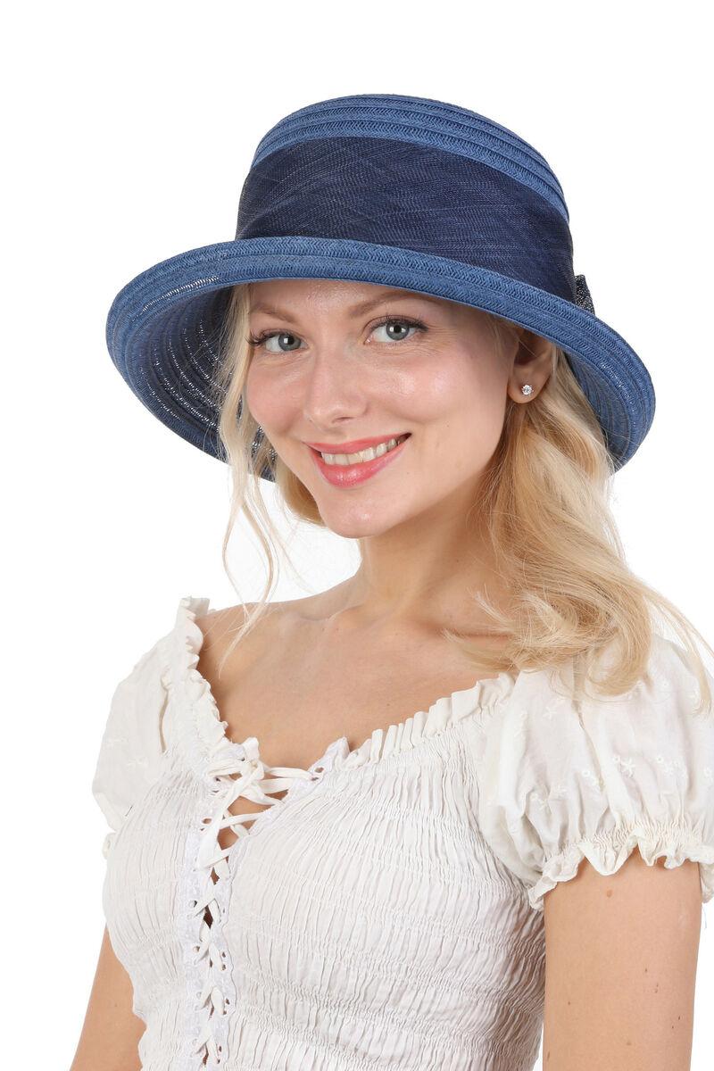 Шляпка синяя с сизалевой лентой