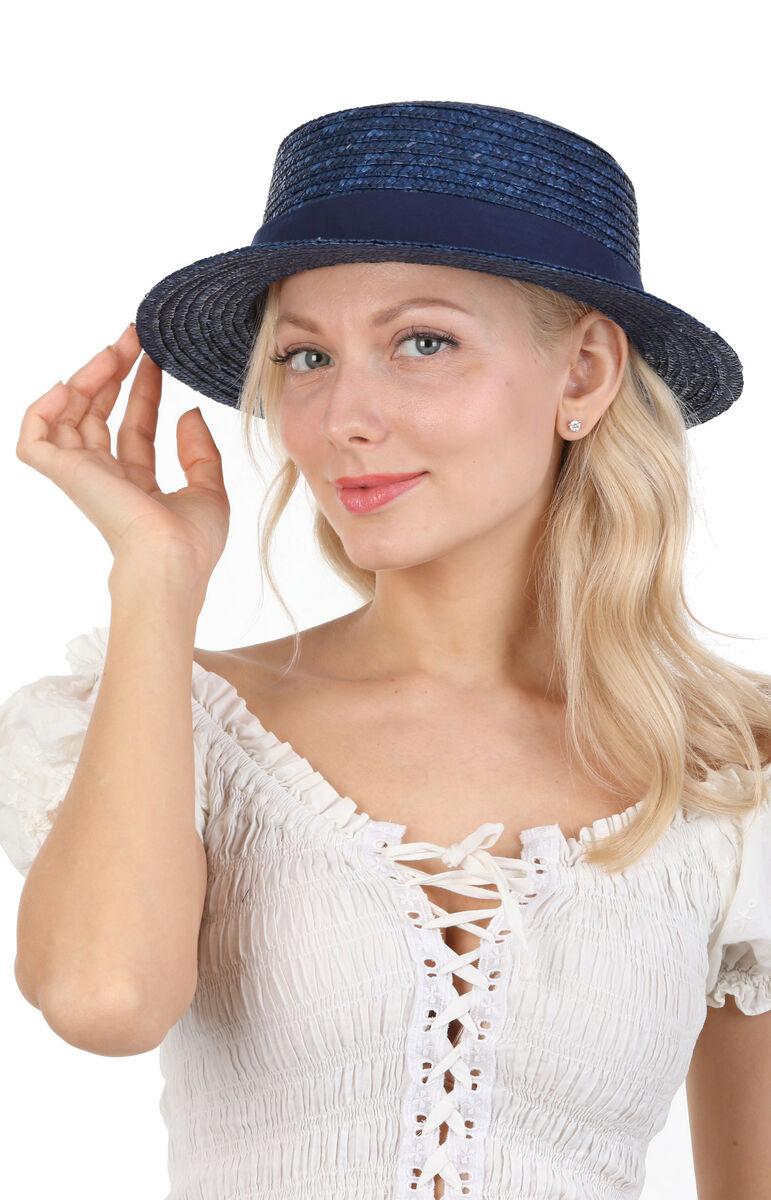 Шляпка синяя канотье
