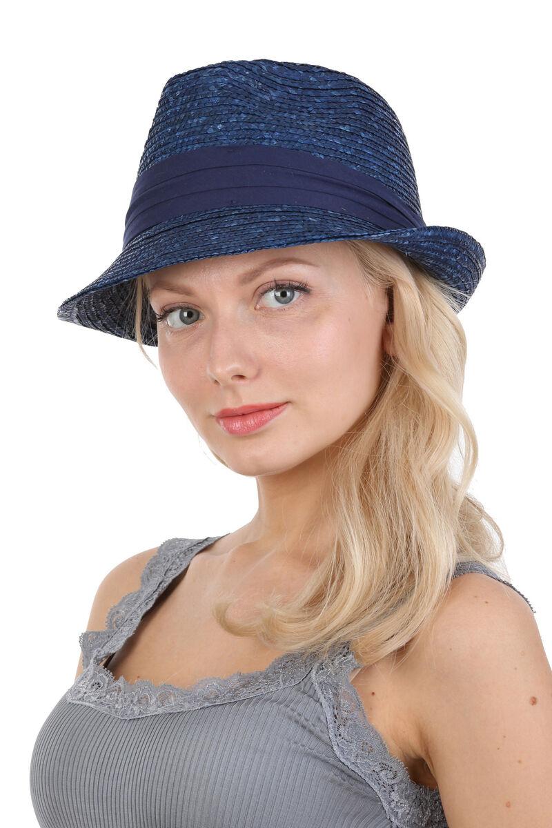 Шляпа трилби из соломы синяя