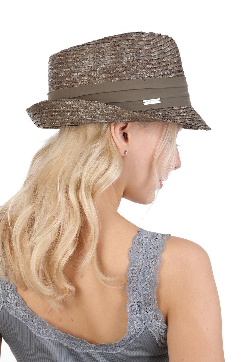Шляпа трилби из соломы зеленая