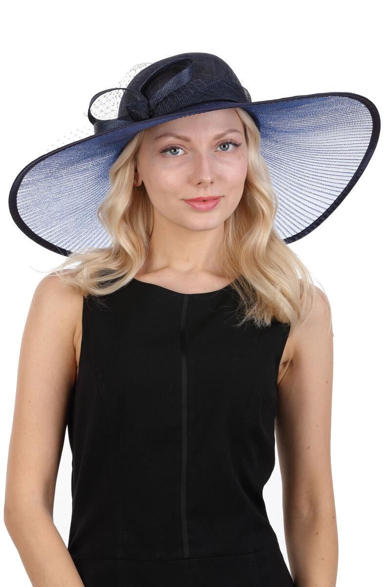 Шляпа вечерняя синяя с большими полями