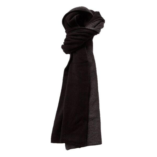 Шарф двусторонний шерстяной черный с серым