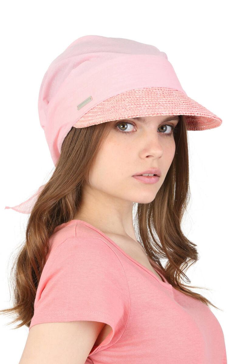 Козырёк соломенный розовый с косынкой