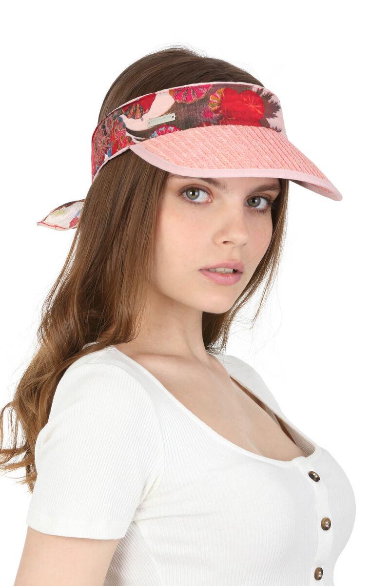 Козырёк соломенный с лентой розовый