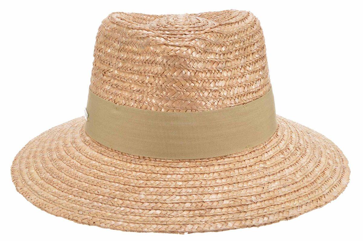 Шляпа федора соломенная коричневая
