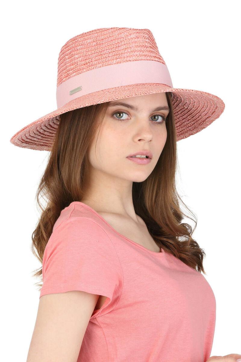 Шляпа федора розовая из соломы