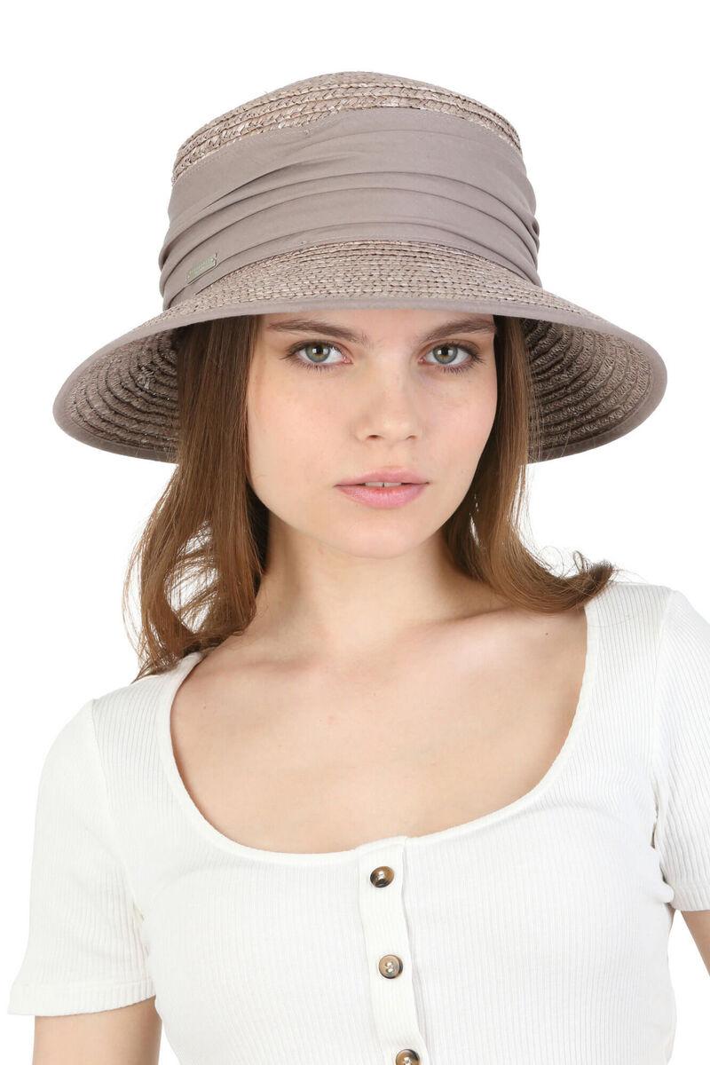 Шляпа серая из соломы с небольшими полями