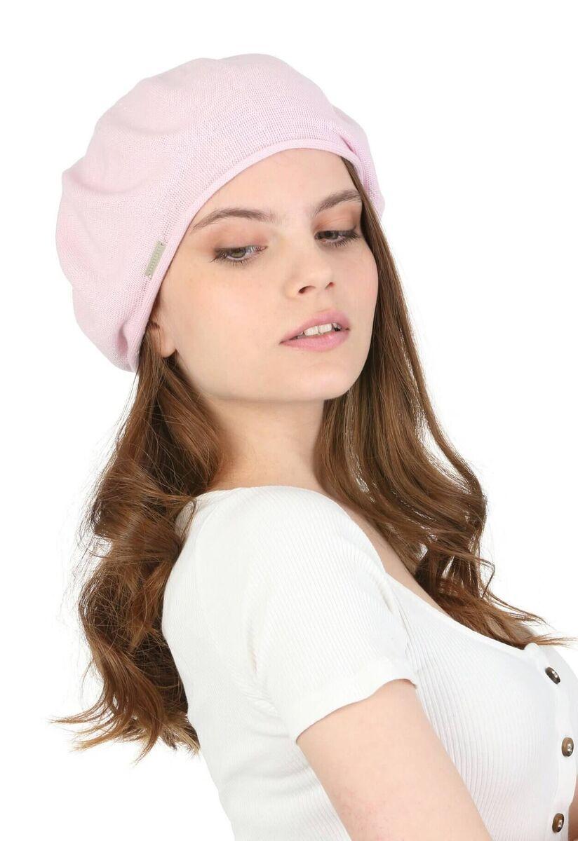 Берет летний женский розовый из хлопка