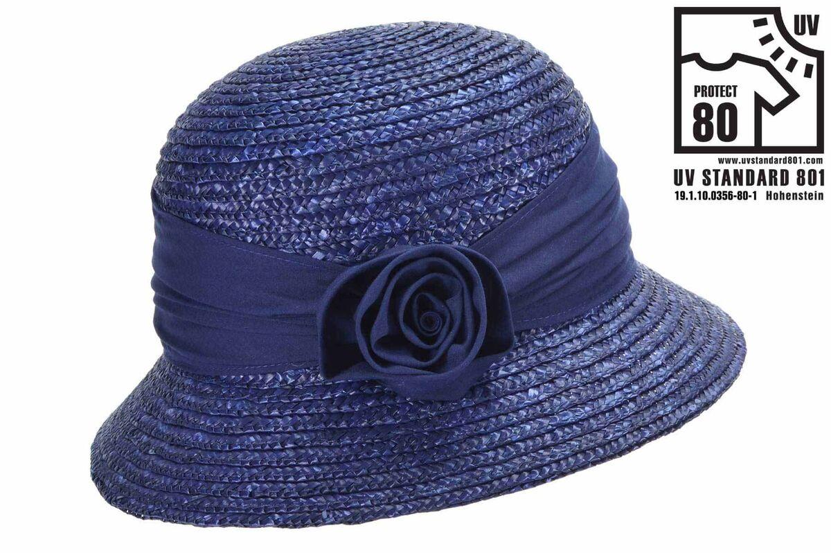 Шляпа синяя с лентой с маленькими полями