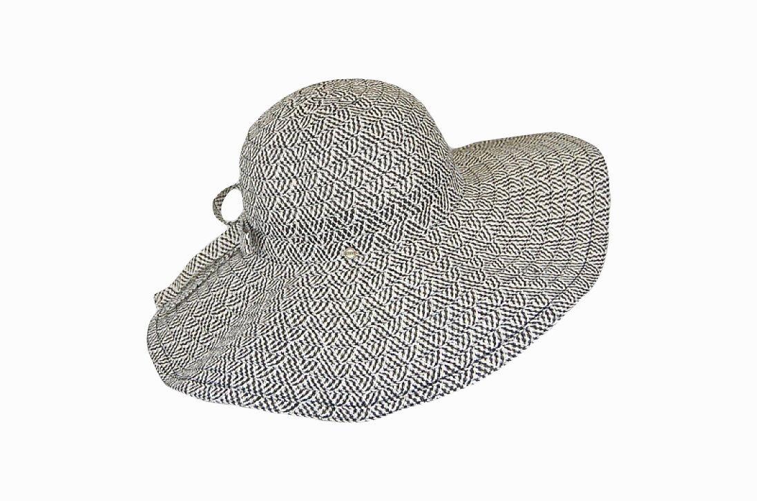 Легкая шляпа с большими полями черно-белая