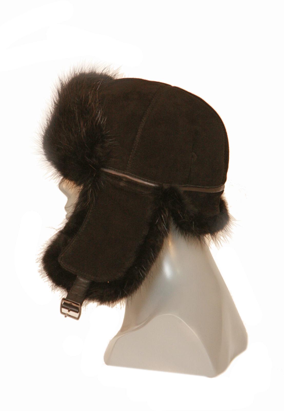 Шапка-ушанка мужская с мехом бобра