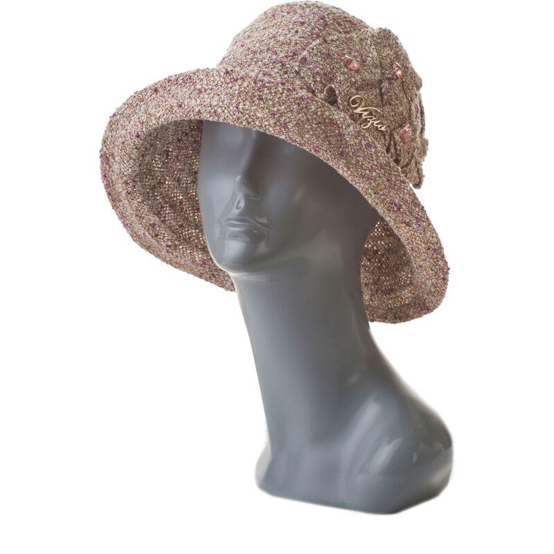 Шляпа женская с камнями коричневаяфото