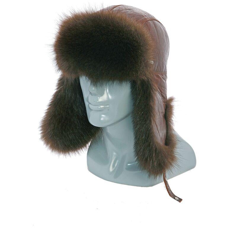 Мужская шапка-ушанка из кожи с мехом енотаизображение