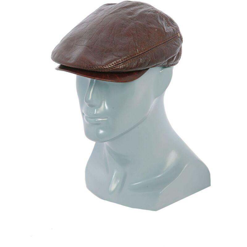 Кепка мужская из кожи коричневаяизображение