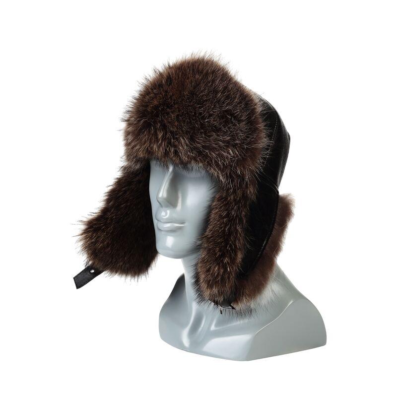Мужская шапка-ушанка из меха енотафото