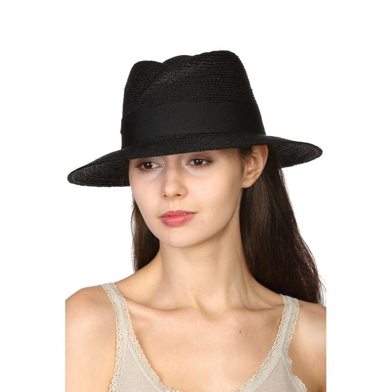 Шляпа соломенная в мужском стиле чернаяфото