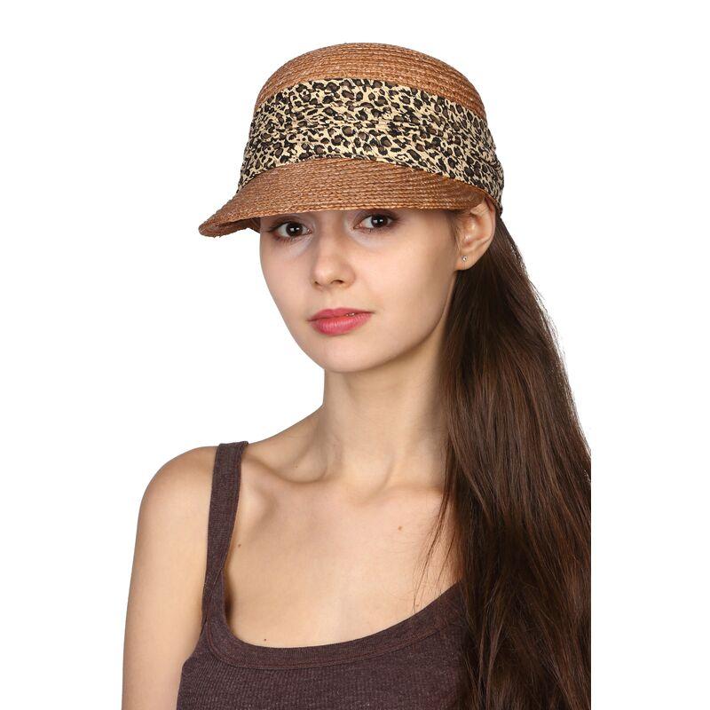 Кепка из натуральной соломы с леопардовой лентойфото