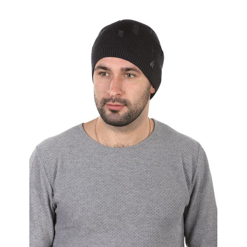 Шапка мужская лемисезонная в рваном стиле темно-сераяфото