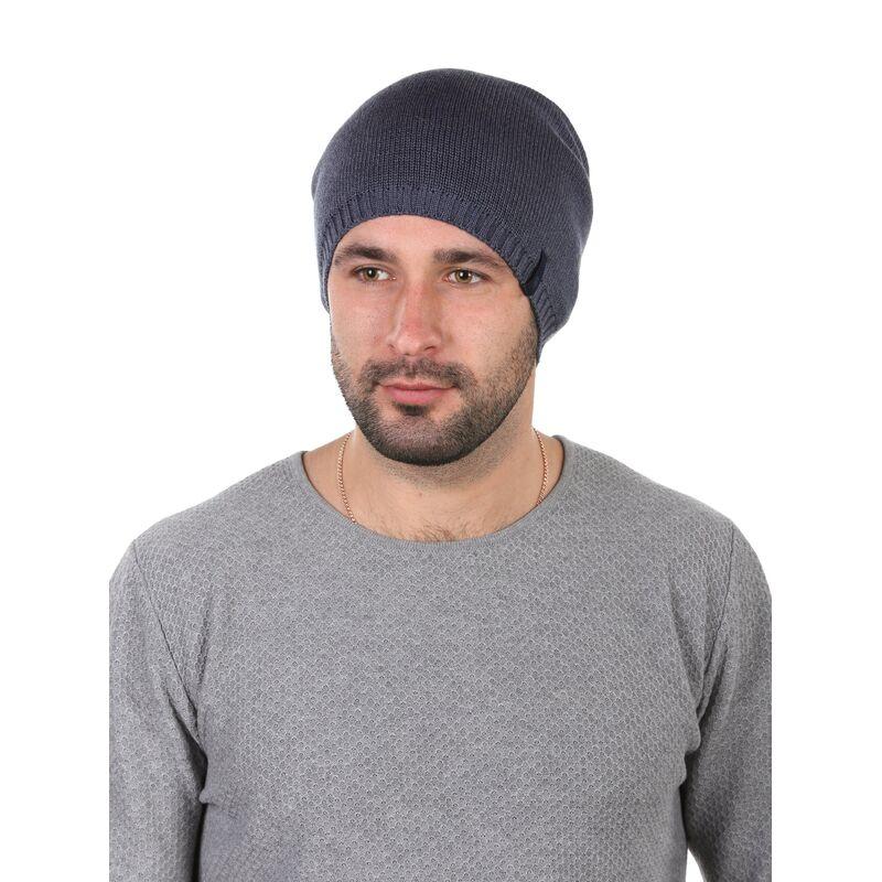 Шапка трикотажная мужская синяяфото