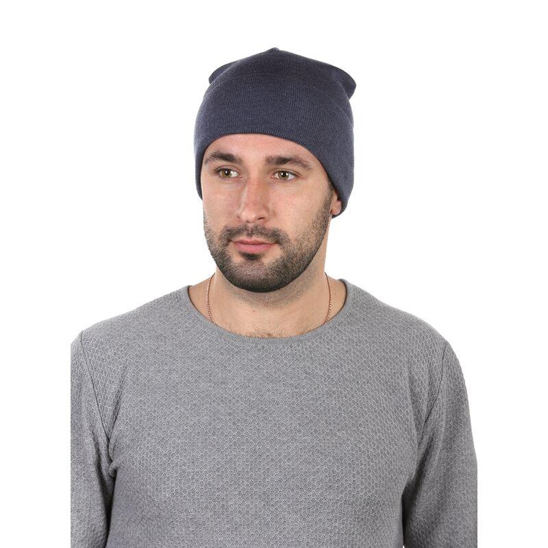 Шапка демисезонная мужская синяяфото