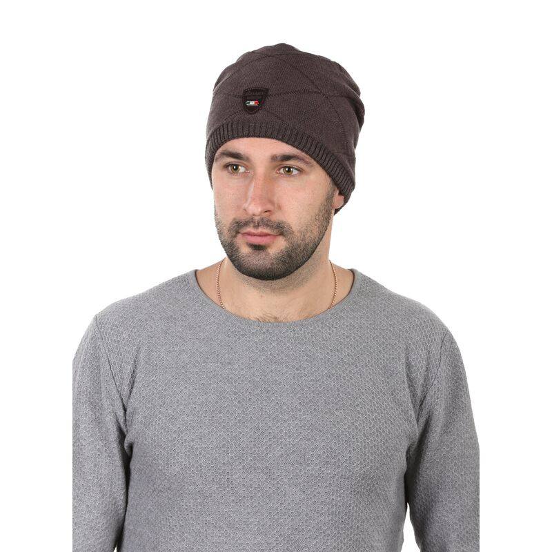 Шапка мужская с кожаным ремешком коричневаяфото