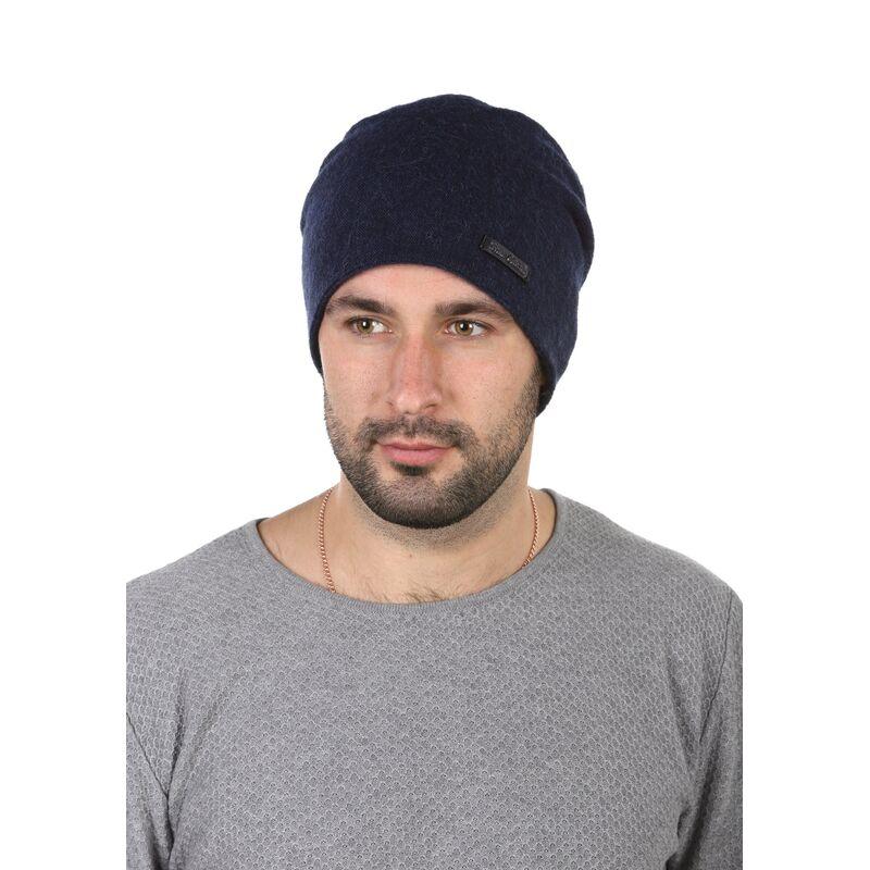 Шапка трикотажная мужская синяя с молниейизображение