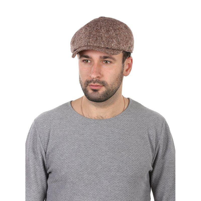 Кепка мужская восьмиклинка коричневая меланж фото