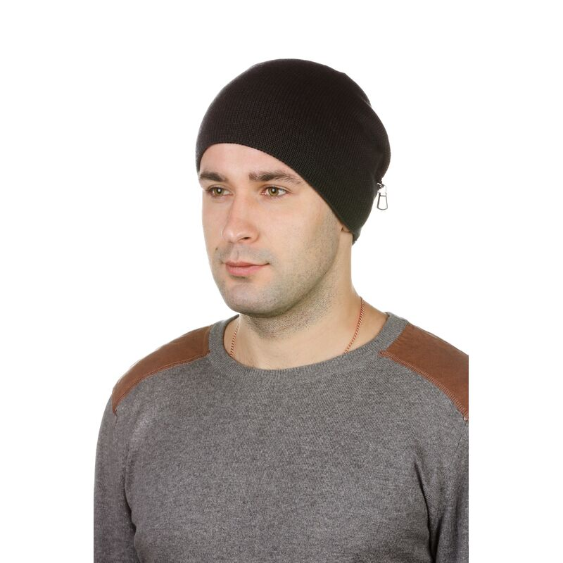 шапка мужская трикотажная серая с кожейизображение