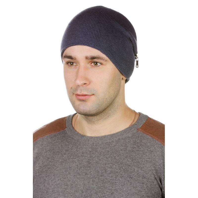 Шапка мужская трикотажная синяя с кожейфото