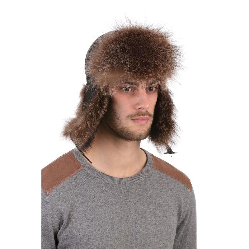 Мужская шапка-ушанка из меха енота коричневаяизображение