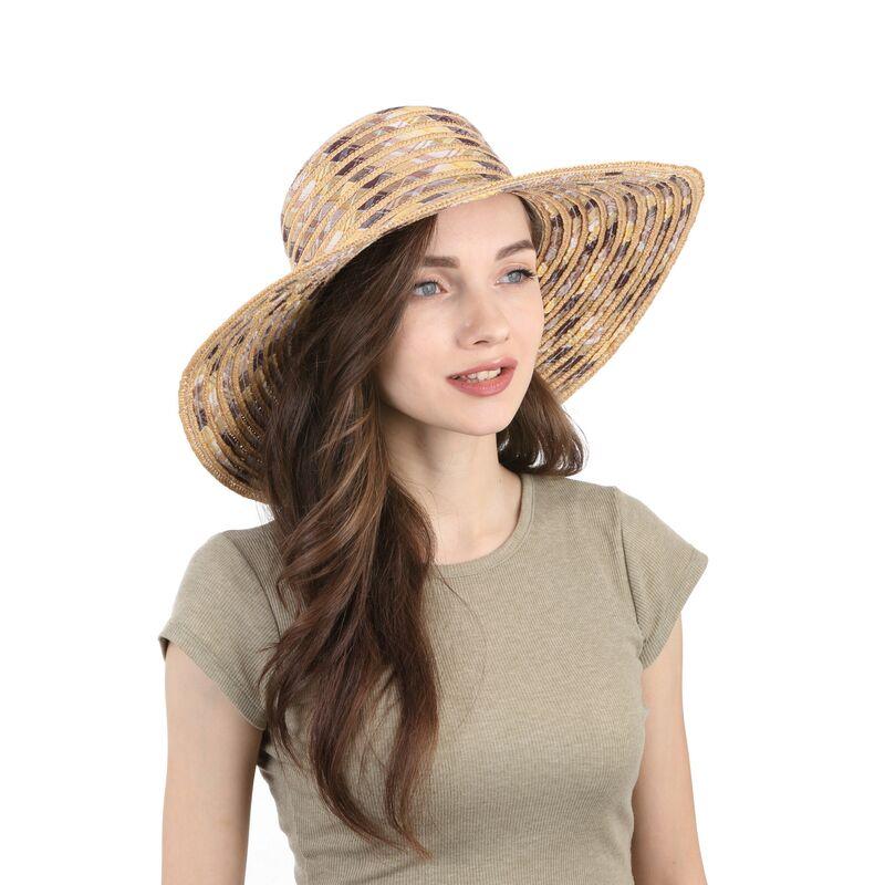 Шляпа соломенная с тканевыми вставками цвета натуральной соломыизображение