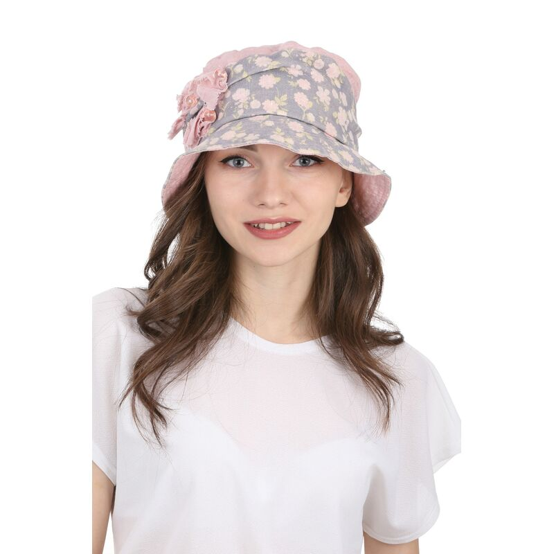 Тканевая шляпа серая с розовымизображение
