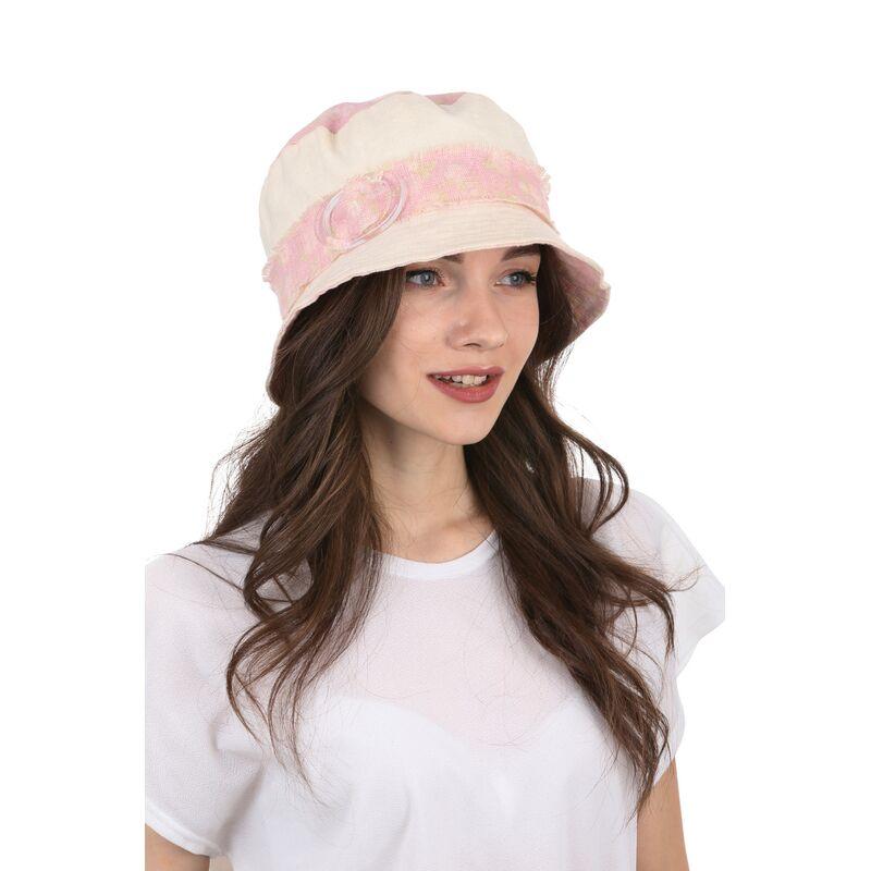 Шляпа тканевая белая с розовымизображение