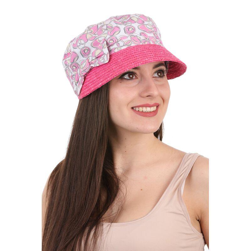 Кепка с козырьком из соломы розоваяизображение