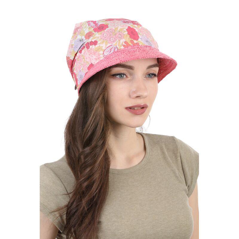 Козырек соломенный с тканевым верхом розовыйфото