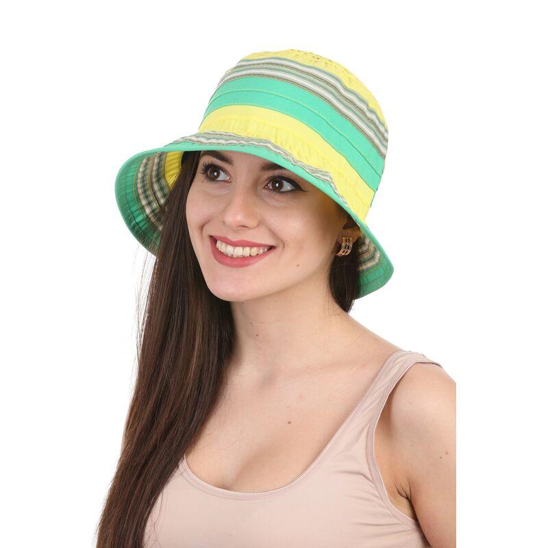 Панама летняя в полоску  желтаяфото
